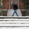 Student walking in the snow