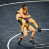 Mike Larson throws Northern Iowa's Ryan Loder