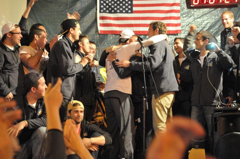 Members of Alpha Epsilon Pi and a raucous crowd
