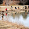 Anglers gather on the banks of Bethel Lake at Cosmo-Bethel Park