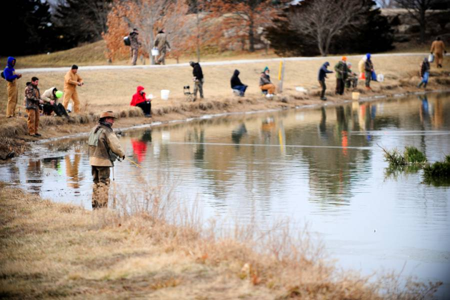 Anglers Gather On The Banks Of Bethel Lake At Cosmo Park