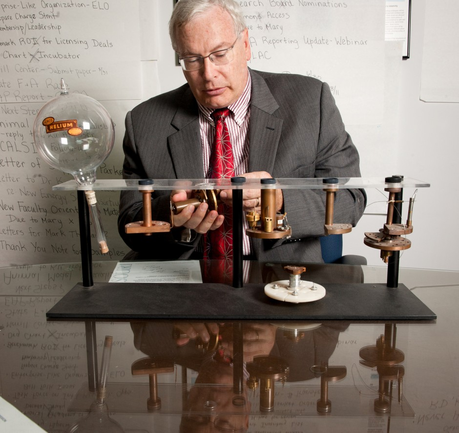 While in graduate school at the University of California, Santa Barbara, when he was working toward a PhD in low-temperature physics, Robert Duncan designed liquid helium cells. The glass sphere is a sample of helium gas which is how gasses were stored and transported long ago.