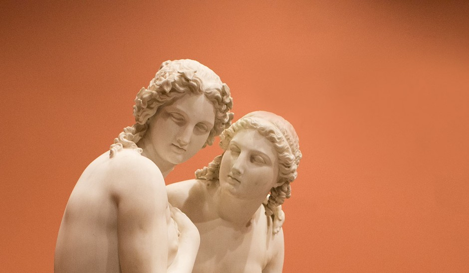 Life-size sculpture of two women