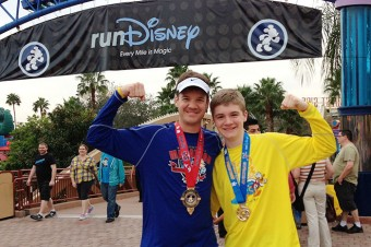 Corey flexing at Disney Marathon