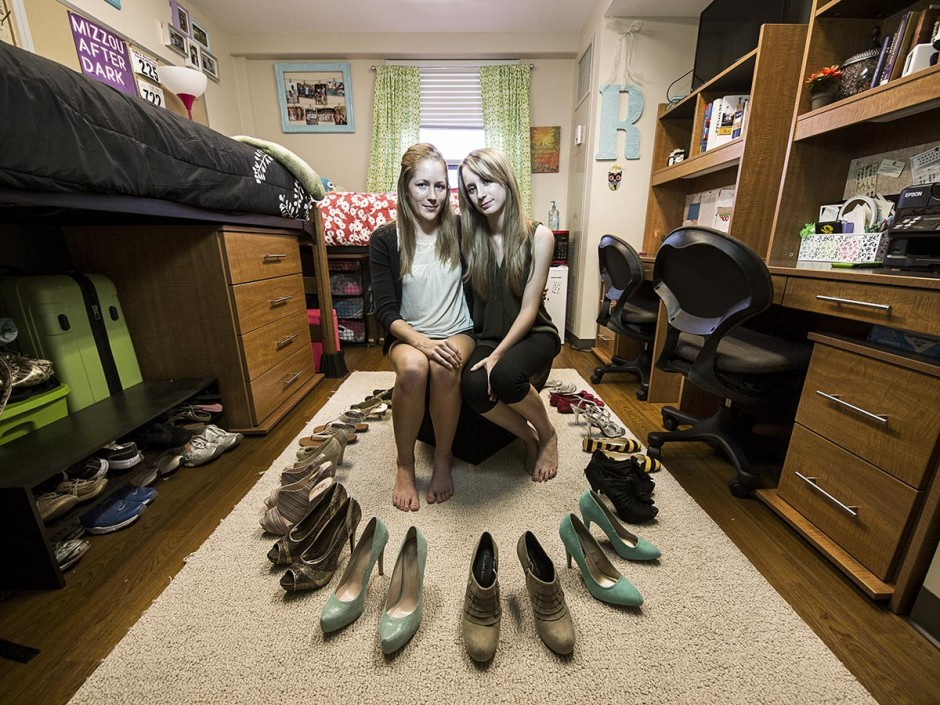 Girls surrounded by shoes