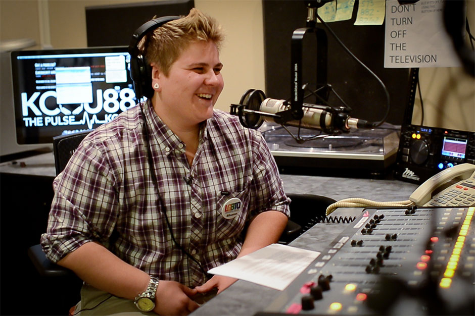 Shane in the KCOU studio