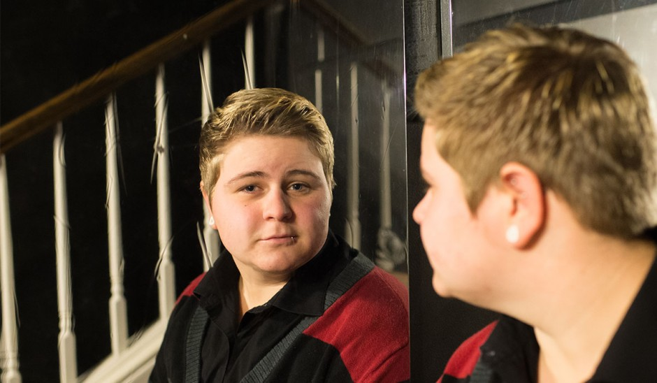 Shane looking in a mirror