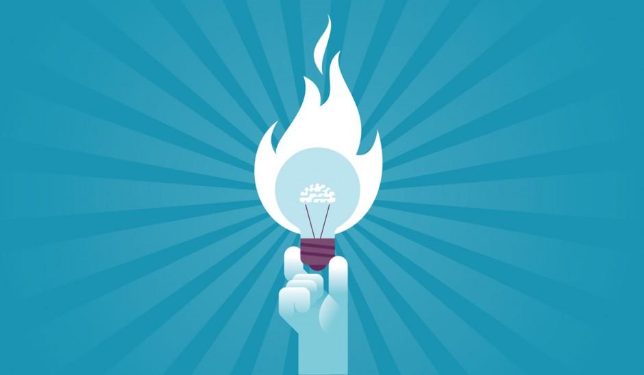 Illustration of hand holding a lightbulb that's on fire