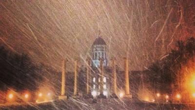 Snow falling on Francis Quadrangle