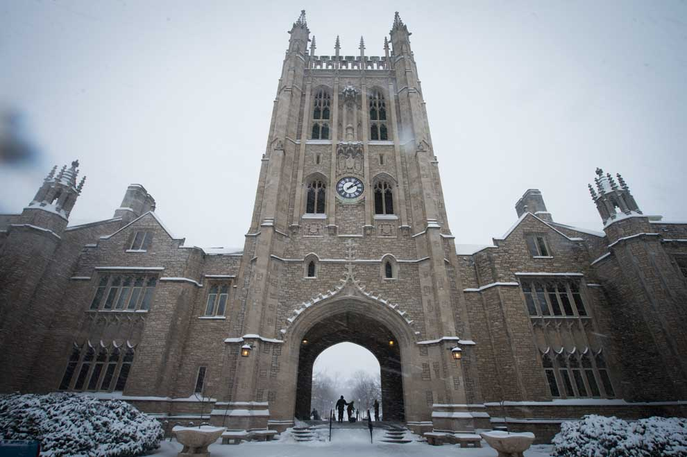 Memorial Union in the snow.