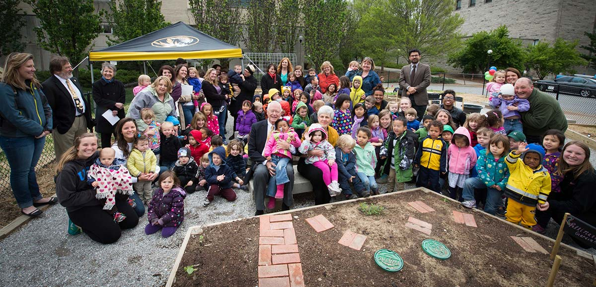 The group photo with as many of the children from the CDL and Marlese and Robert Gourley, the benefactors that we recognized at our official garden opening May 1st. There are also many of the teachers, researchers, and faculty members affiliated with the CDL in this shot.