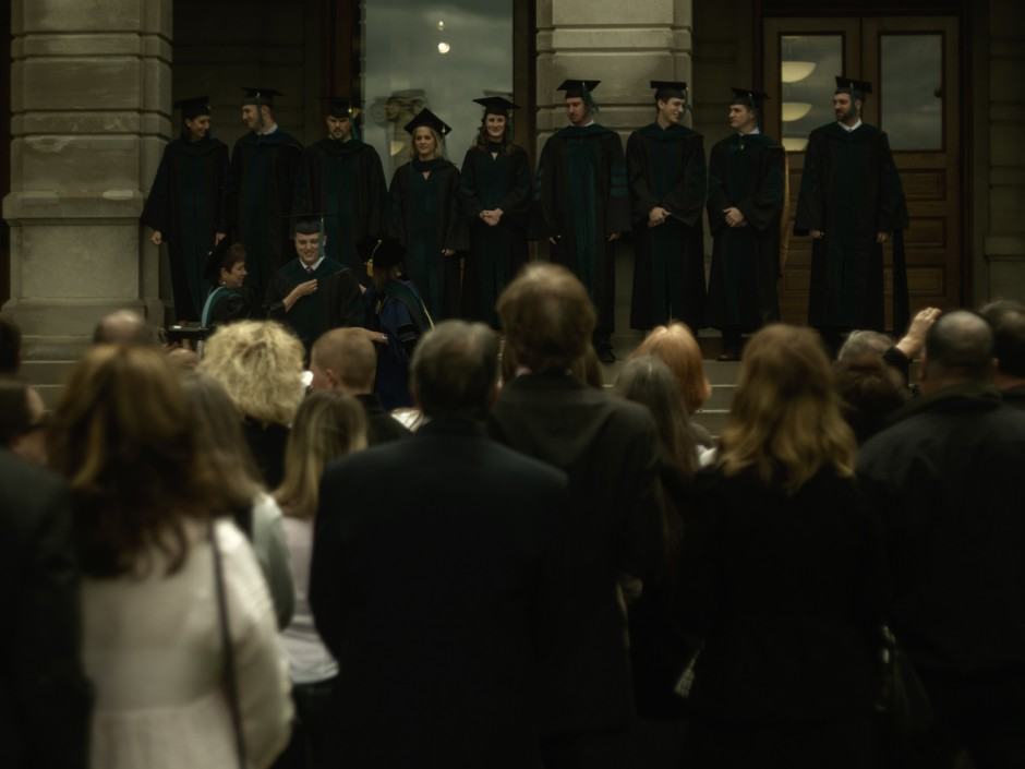 Graduation on stairs of Jesse Hall