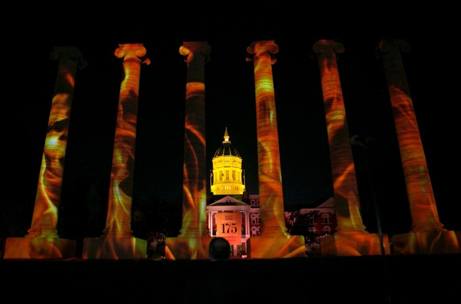 Light show at the Columns.