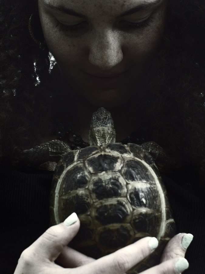 Brittany Crocker and Pierre the tortoise