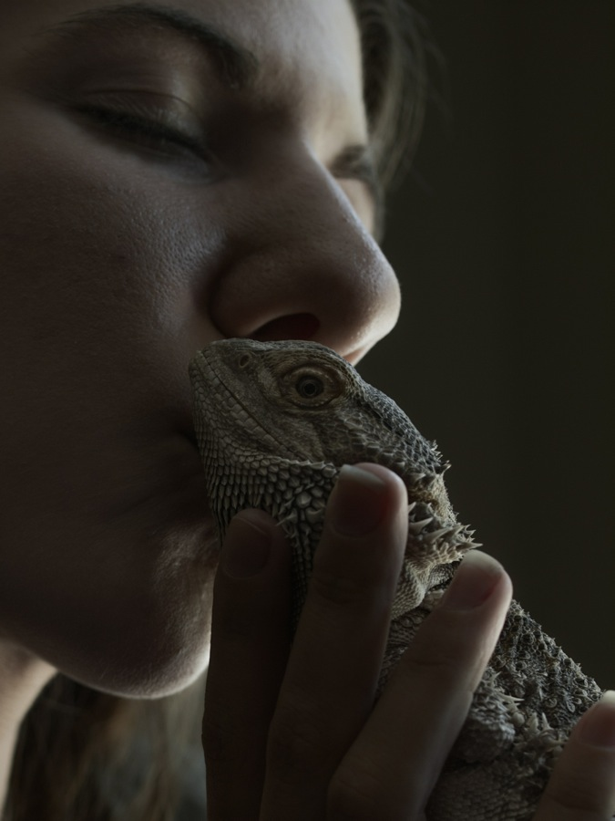 Ericka Lail and Piper the bearded dragon
