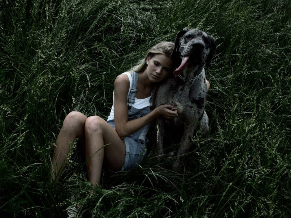 Brittany Hofman and King Louie, the Great Dane