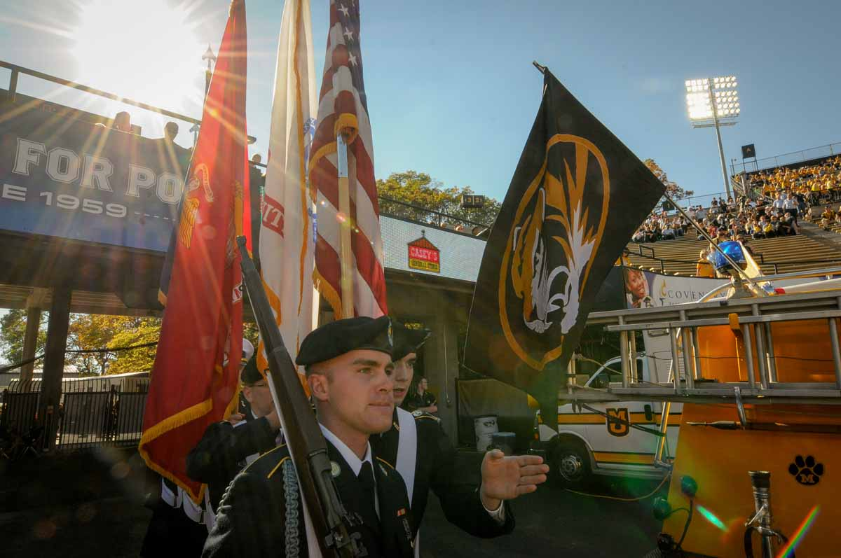 ROTC cadets prepare to walk on to Faurot Field.