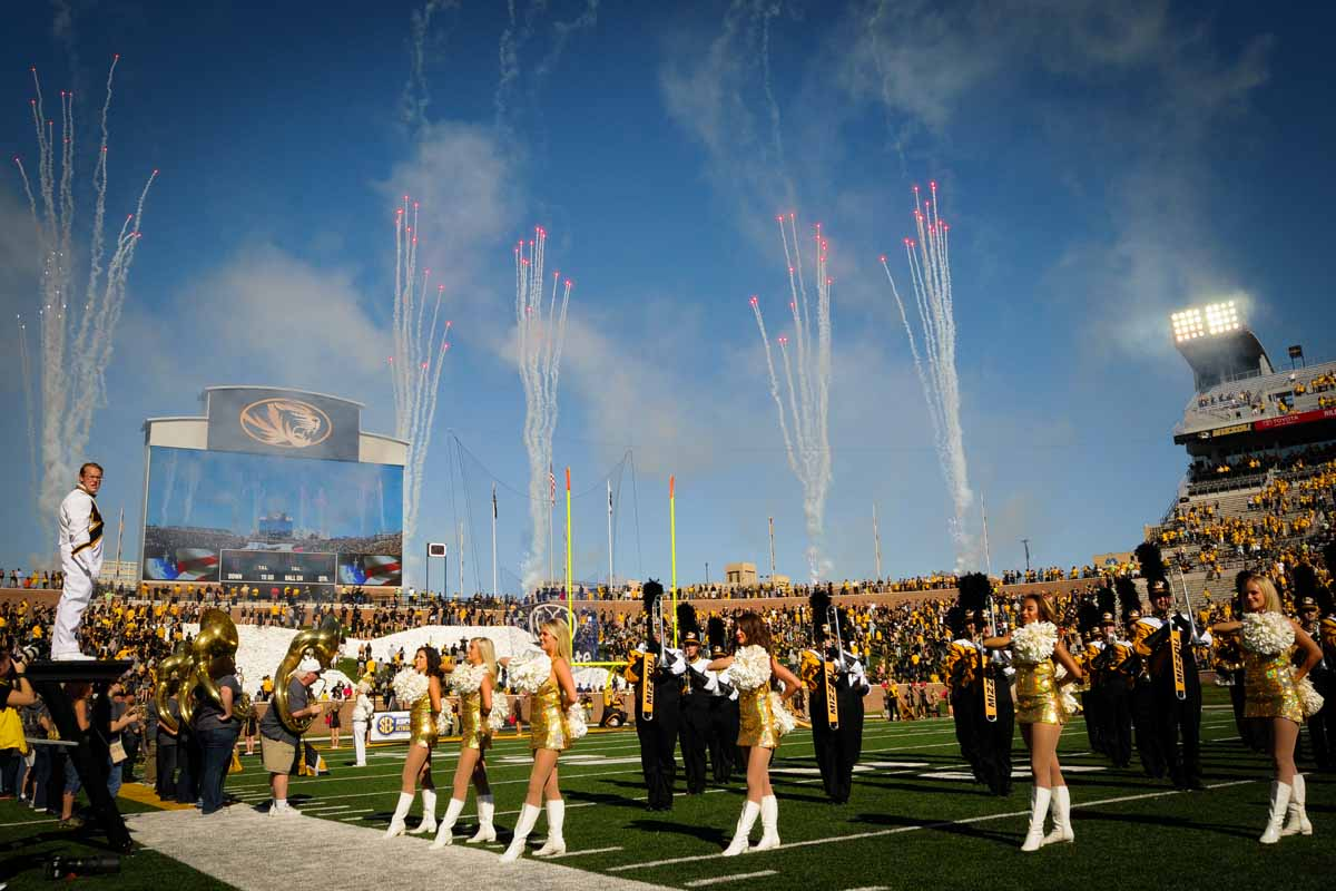 Fireworks explode on the north side of Memorial Stadium as Marching Mizzou and the Golden Girls perform.