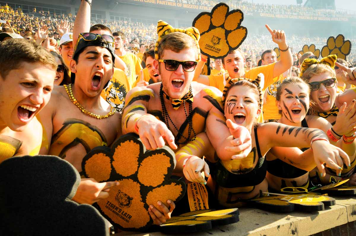 Students in the Tiger Lair section of the stadium roar for Mizzou before the kickoff.