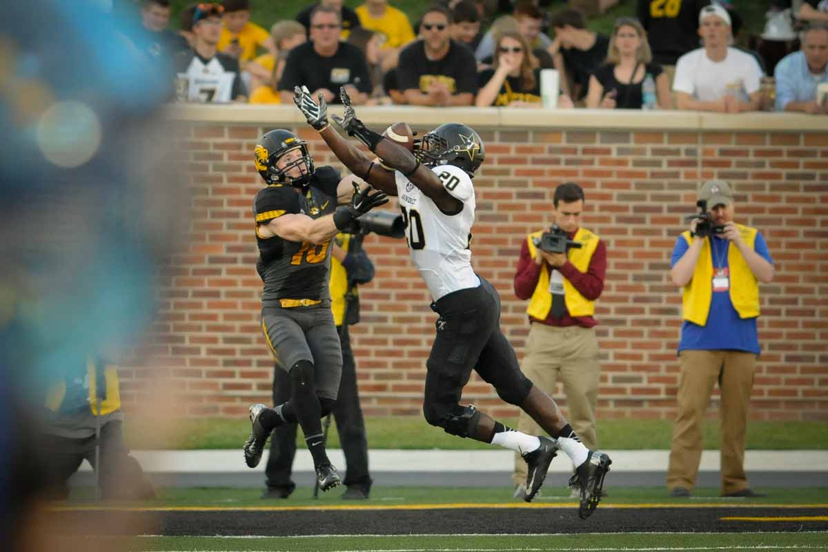 Wide receiver Wesley Leftwich goes for a reception in the end zone before the play was broken up by a Vanderbilt defender.