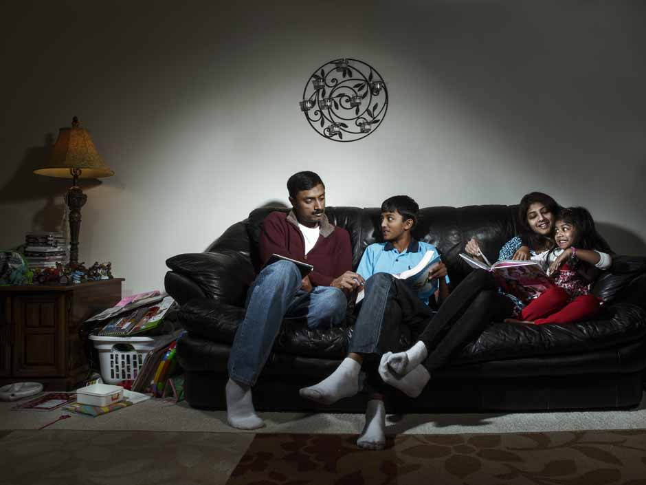 Anand family on couch