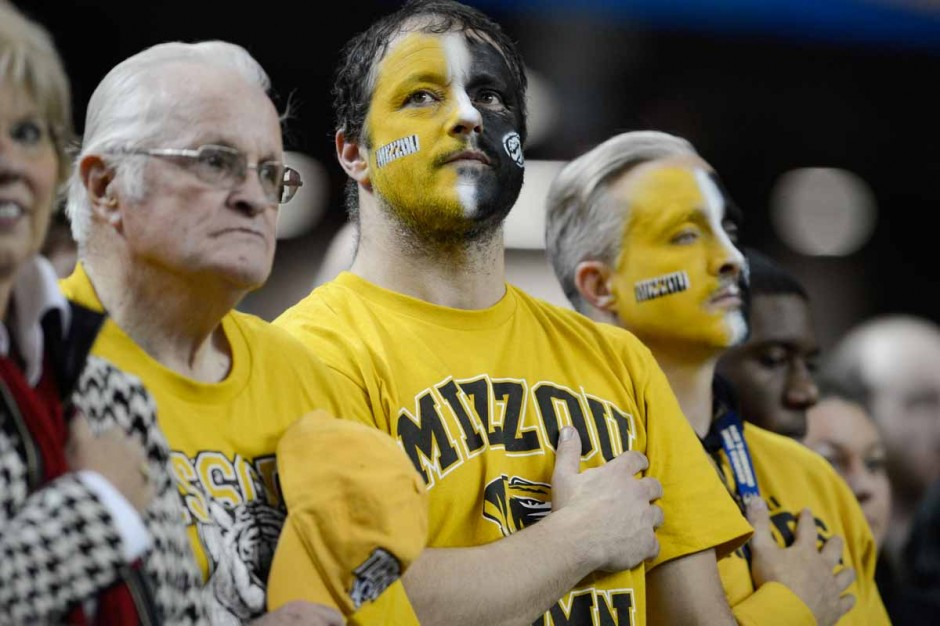 Fans painted black and gold.