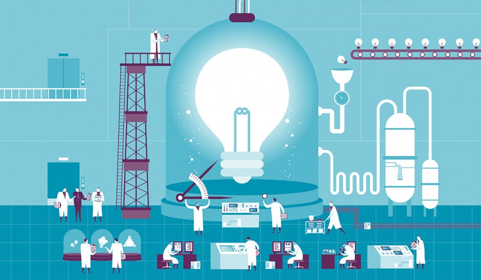 Illustration of scientists working on a lightbulb