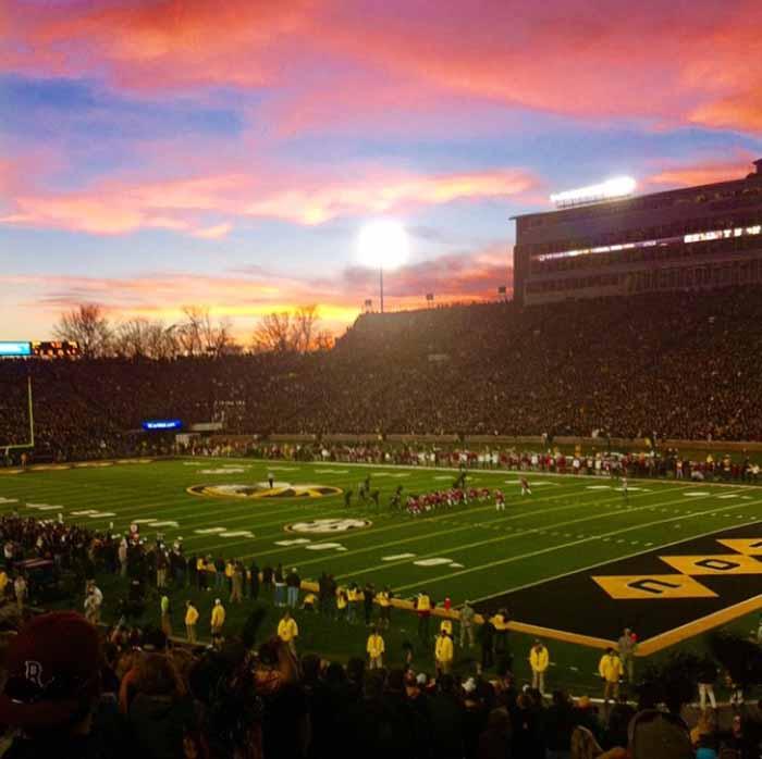 Sunset over Faurot Field