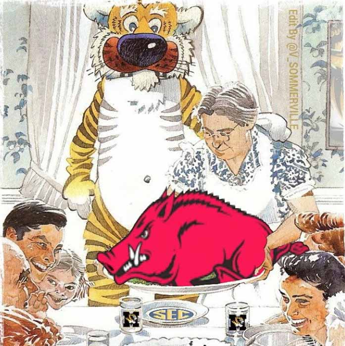 Drawing of family at a table eating a Razorback.