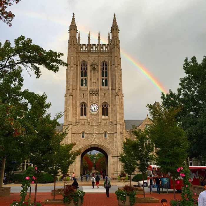 Rainbow behind Memorial Union.