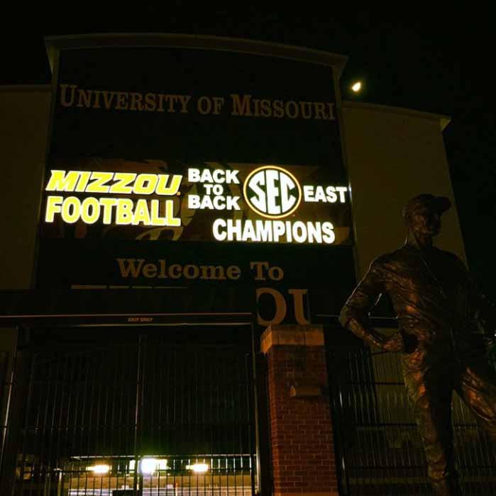 "Scoreboard says ""Mizzou Football: Back to Back SEC East Champions."""