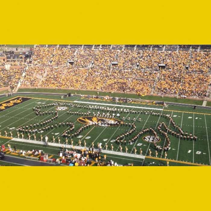 Marching Mizzou on the football field.
