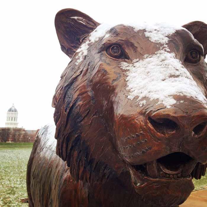 Bronze tiger on Tiger Plaza.