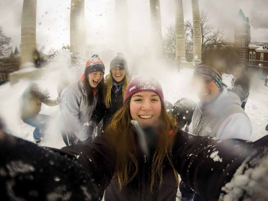 Sophomores Jill Murray, Allie Landreth, Morgan Lieberman and Caroline Gjerstad (left to right) pose for a GoPro selfie. Photo by Morgan Lieberman.