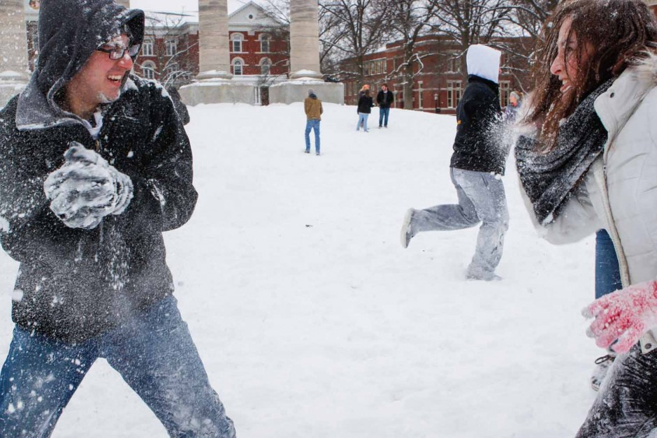 Jared Kaufman prepares to throw another snowball at Rachel Foster-Gimbel. The opposing team members didn't seem to mind a face full of snow. Photo by Tanzi Propst.