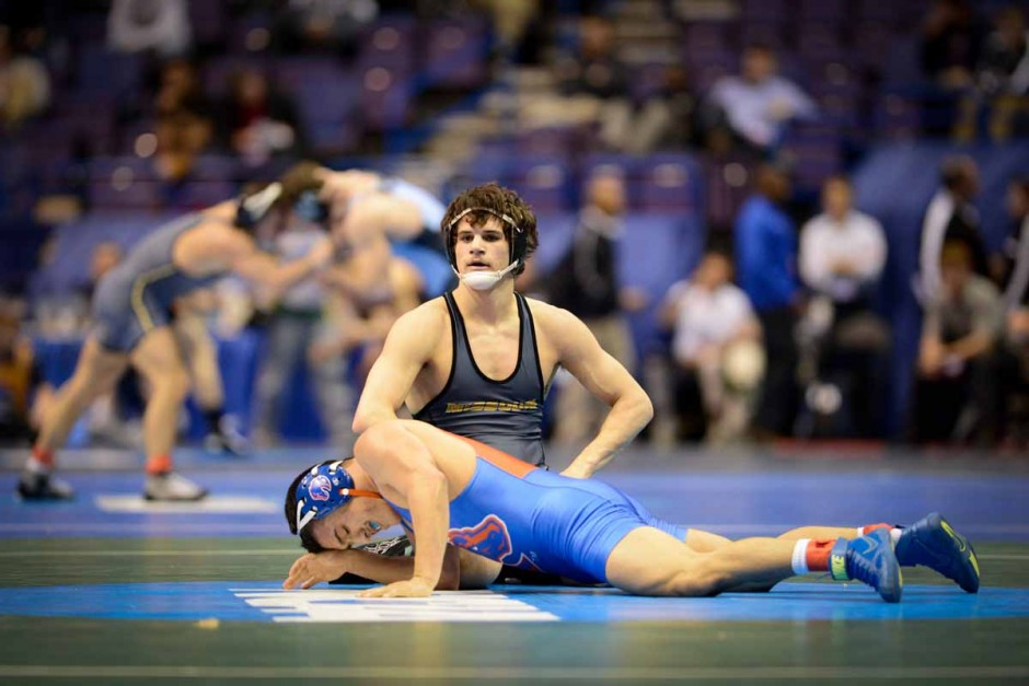 Sophomore Joey Lavallee defeats Boise State's Steven Hernandez by a 9-0 major decision in the 157-pound weight class on Thursday evening.