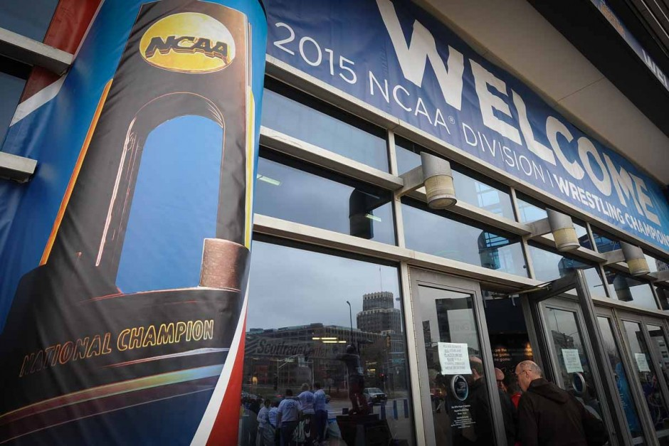 Fans enter the Scottrade Center in downtown St. Louis for the 2015 NCAA DI Wrestling Championships.