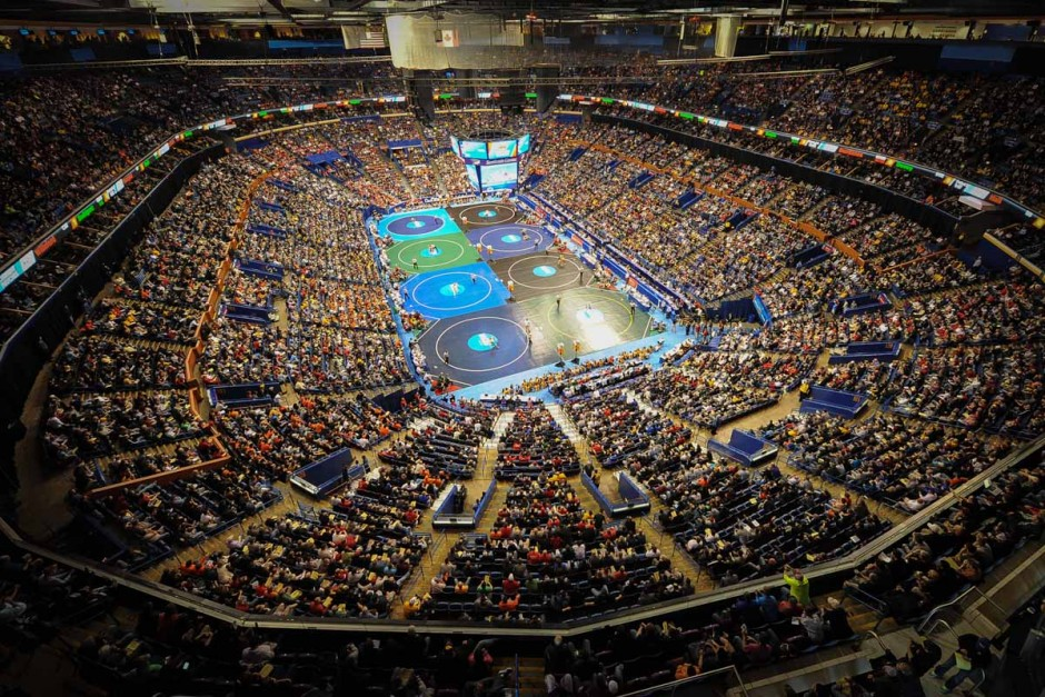 More than 18,000 wrestling fans fill the Scottrade Center and watch the action on eight mats for Session 3 of the NCAA DI Wrestling Championships.
