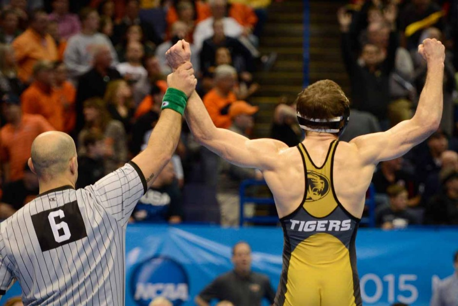 Senior Drake Houdashelt faces Mizzou fans after defeating Cornell's Christopher Villalonga in the semi-finals and earning Houdashelt his first trip to a national title match.