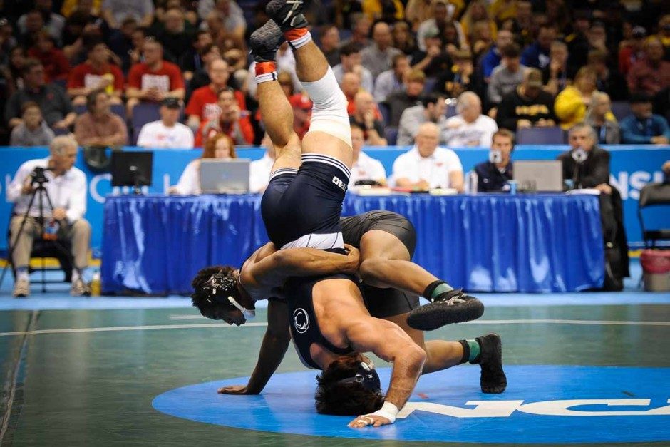 J'Den Cox loses his second match of the tournament by a score of 3-1 against Penn State's Morgan McIntosh.