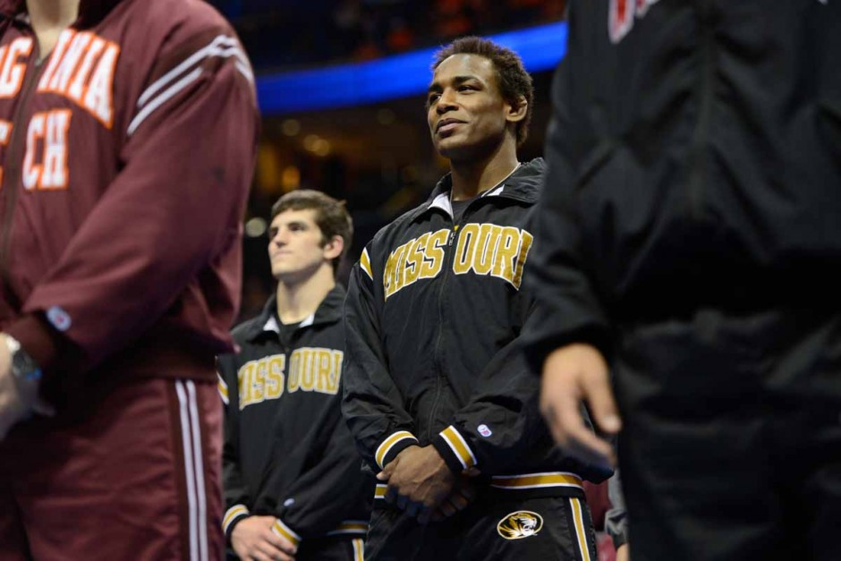 Before the championship finals begin, sophomore J'Den Cox and Willie Miklus stand on the main stage will all eighty All-Americans.