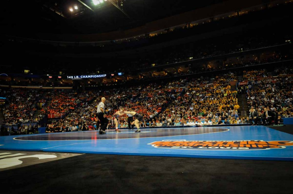 More than 18,000 spectators fill the Scottrade Center on March 21, 2015, to watch the top 20 wresters in the country battle for first and second place.