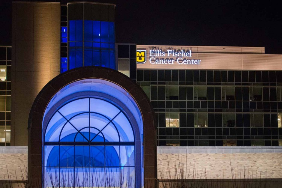 llis Fischel Cancer Center, a part of University of Missouri Health Care, recognizes National Autism Day with blue lights on the south side of University Hospital.