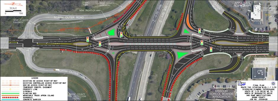 Illustration of interchange at I-70 and Stadium Boulevard.