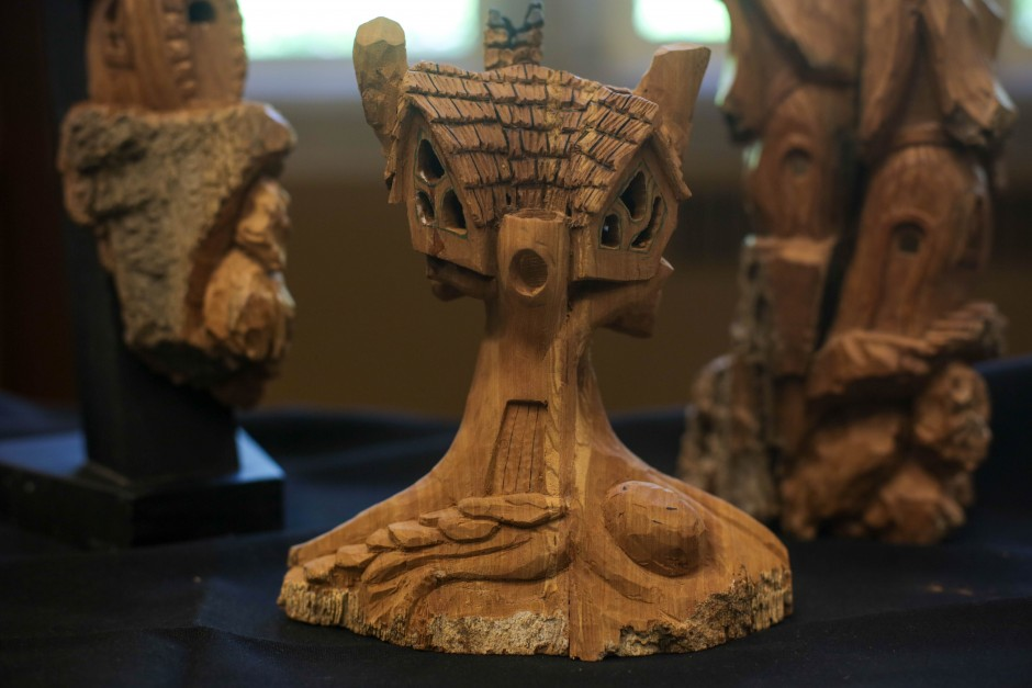 Wood carvings by Steven Winters from the MU Student Information Systems department. Winters was the winner of the 2014 People's Choice Award.