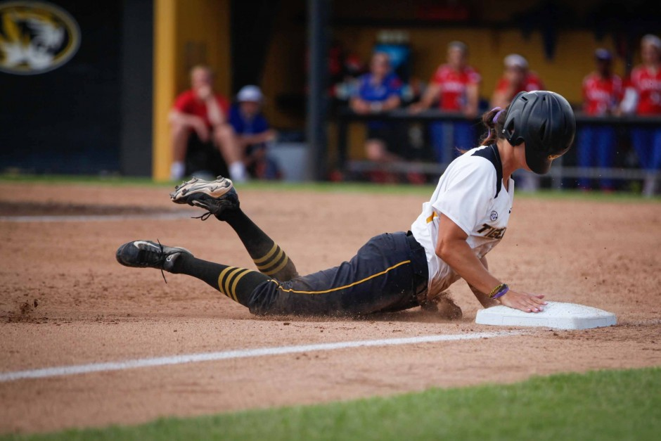 Kayla Kingsley sliding into base.