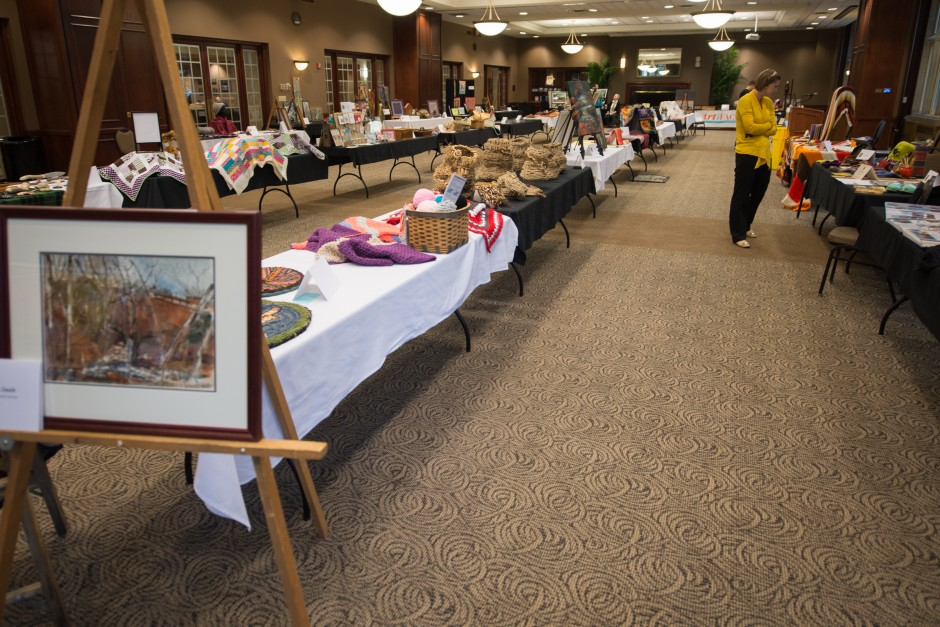 Tables and tables of art fill Stotler Lounge in Memorial Union where passers-by can take-in all the goods until Thursday, May 21, at 3 p.m.