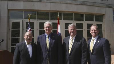 Chancellor R. Bowen Loftin, Gov. Jay Nixon, donor, UM System President Tim Wolfe.