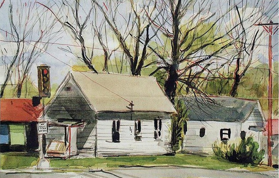 Painting of the shotgun house.