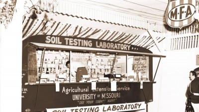 Old photo of testing lab.